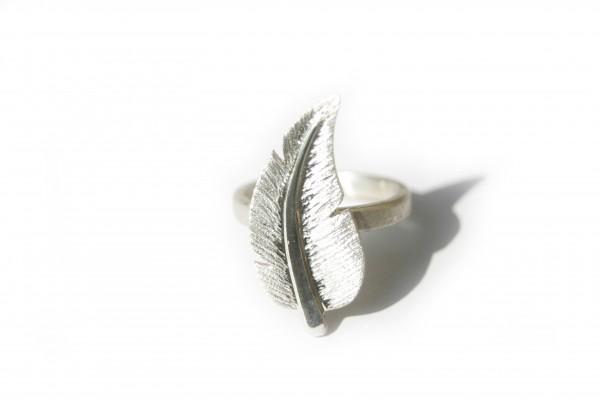 Federring - Ring mit geschwungener Feder - nickelfrei - Sterlingsilber