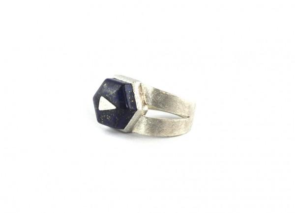 Lapis-Sechseck-Ring - Silberring mit blauem Lapislazuli