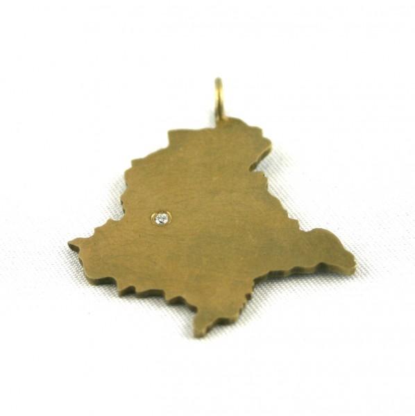 Amberg-Anhänger groß vergoldet - Umriss der Oberpfalz