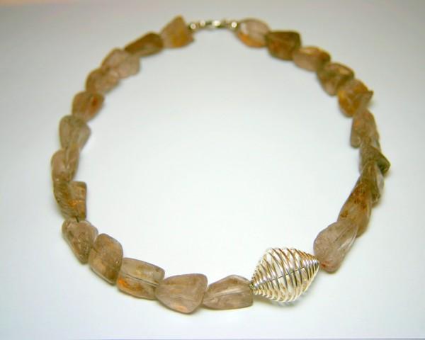 Rauchquarz-Spiral-Collier - braune Steinkette mit Silberspirale