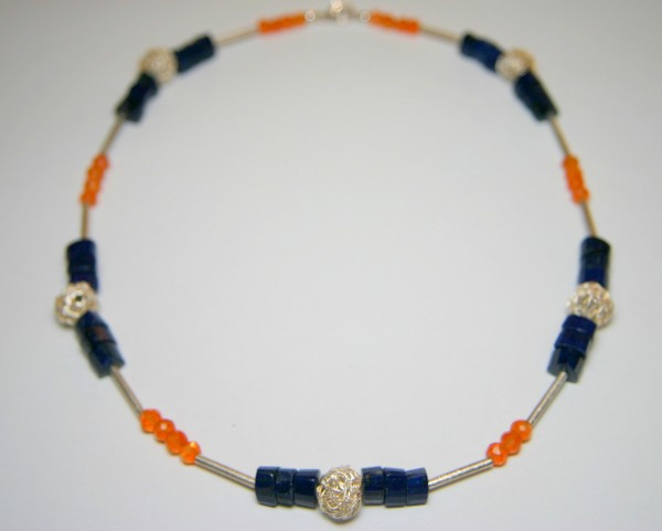 Lapis-Carneol-Collier - orange/blaue Steinkette
