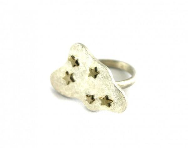 Sterntalerring - Silberring mit vergoldeten Sternen