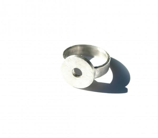 Kreisring Durchbruch - Silberring mit Kreisaufsatz