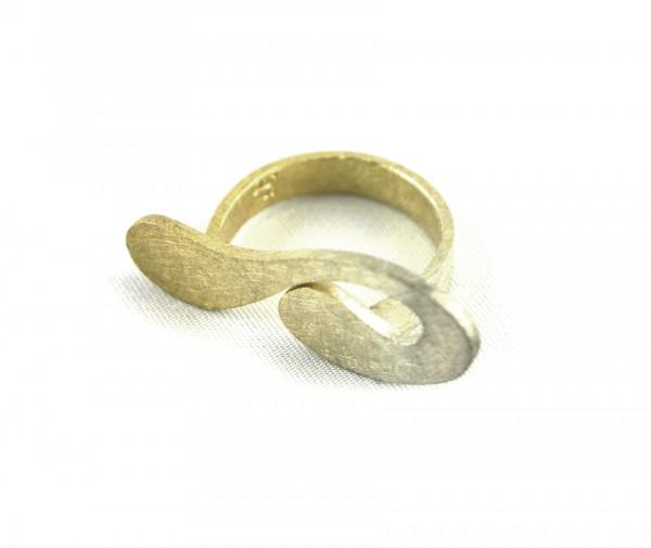 Doppeltropfenring - Silberring mit Vergoldung im Verlauf