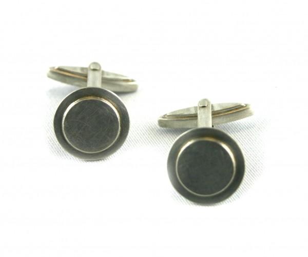 Manschettenknöpfe Scheiben - Silberscheiben als Manschettenknöpfeosteine als Manschettenknöpfer Ober