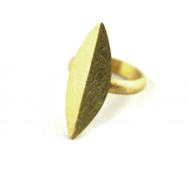 Navettring - Spitzovaler Ring vergoldet