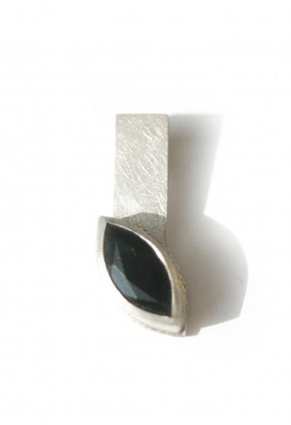 Granat-Navettanhänger - Silberanhänger mit Granat in Navettform