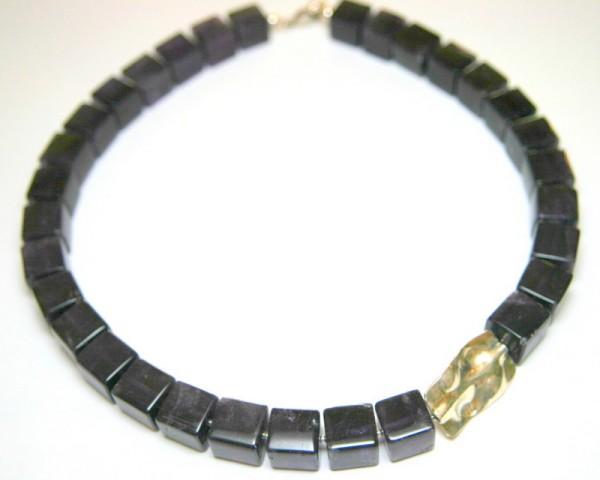 Amethyst-Würfel-Collier- lila Würfelkette mit Silberrechteck