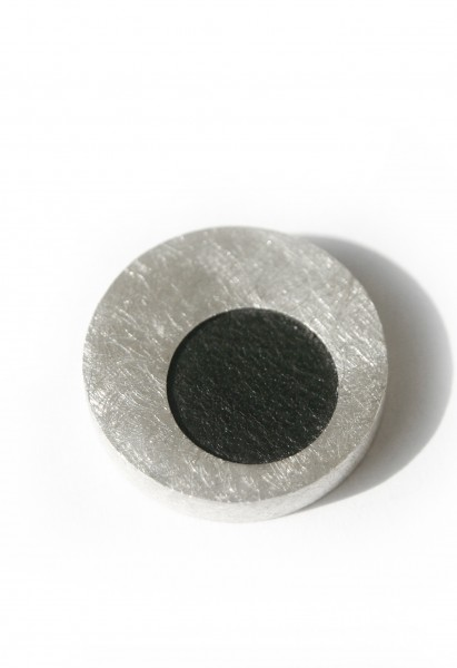 Lederanhänger Kreis - Silberanhänger mit schwarzem Leder