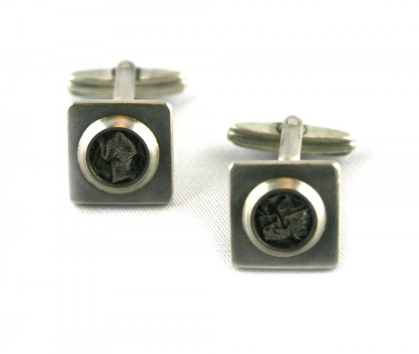 Stahlsiebmanschettenknöpfe - Silbermanschetten mit Stahlsieb
