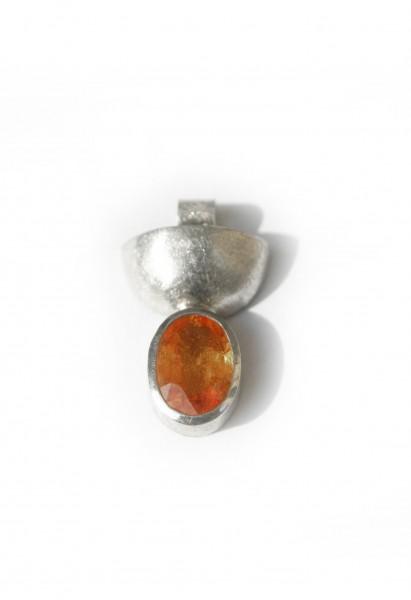 Saphiranhänger orange - Silberanhänger mit orangem Saphir